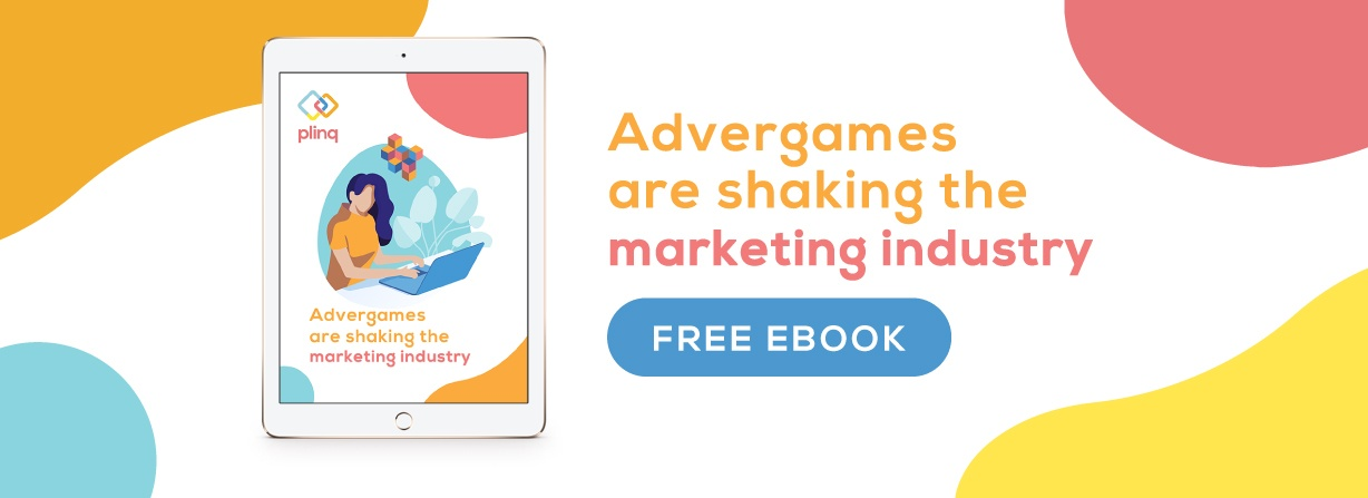 Advergames are shaking the marketing industry ebook with cartoon woman playing a computer game