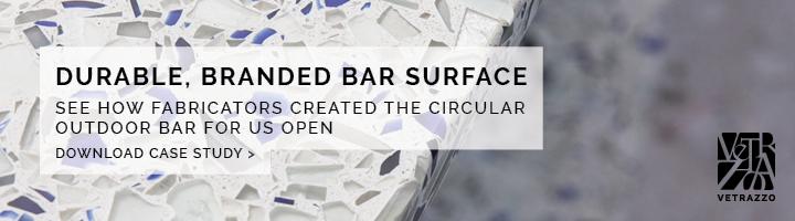 US Open case study sustainable design recycled countertops Vetrazzo