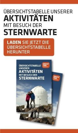 Übersichtstabelle unserer Aktivitäten mit Besuch der Sternwarte