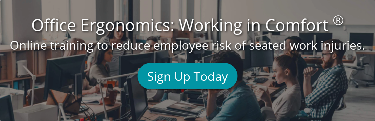 Office Ergonomics: Working in Comfort Online training to reduce employee risk  of seated work injuries. Sign Up Today