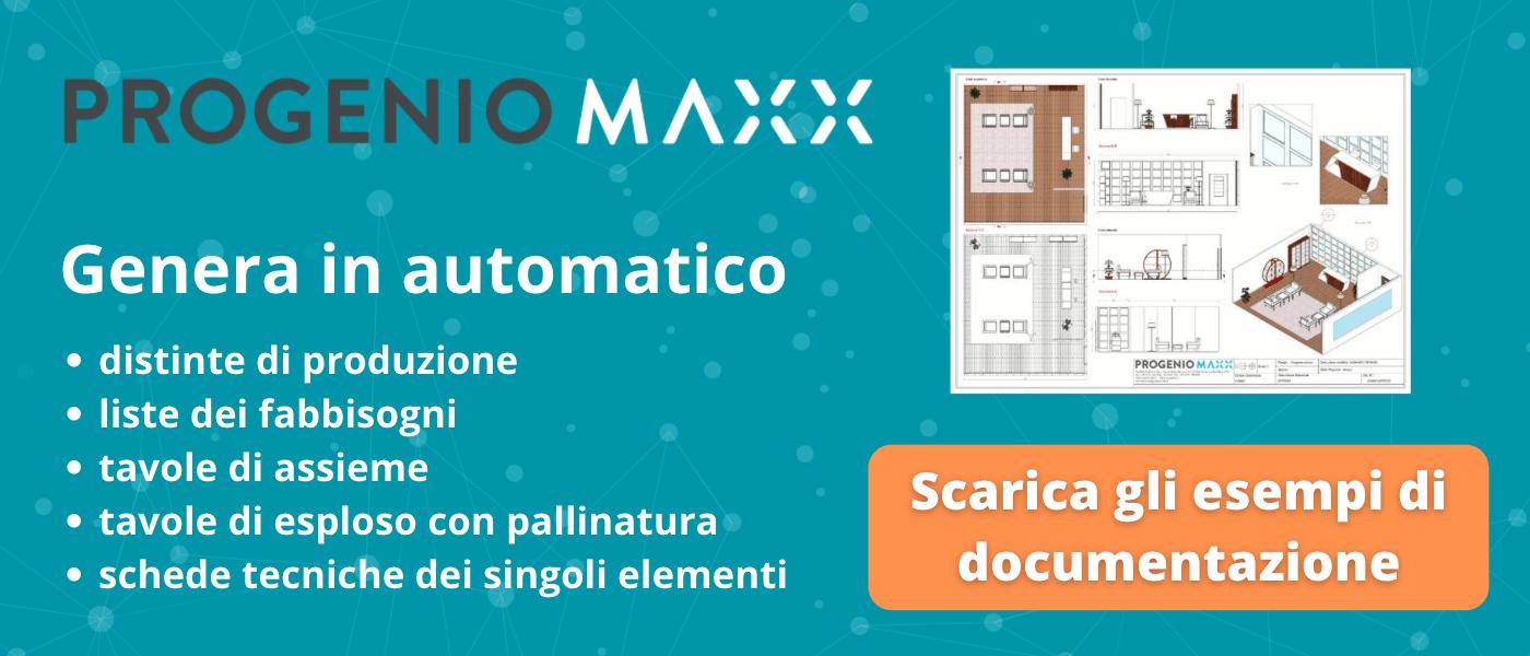 Esempi di tavole tecniche e documentazione esecutiva generata in automatico con Progenio