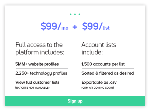 Platform + Account List Pricing and Sign up