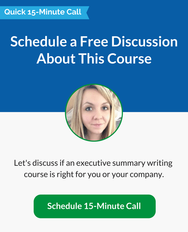 Call Mary to Discuss Executive Summary Writing Course