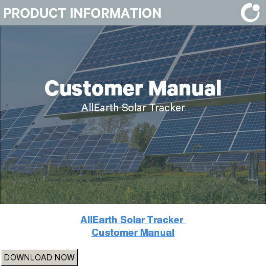 AllEarth Solar Tracker  Customer Manual DOWNLOAD NOW