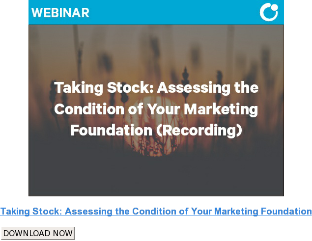 Taking Stock: Assessing the Condition of Your Marketing Foundation DOWNLOAD NOW