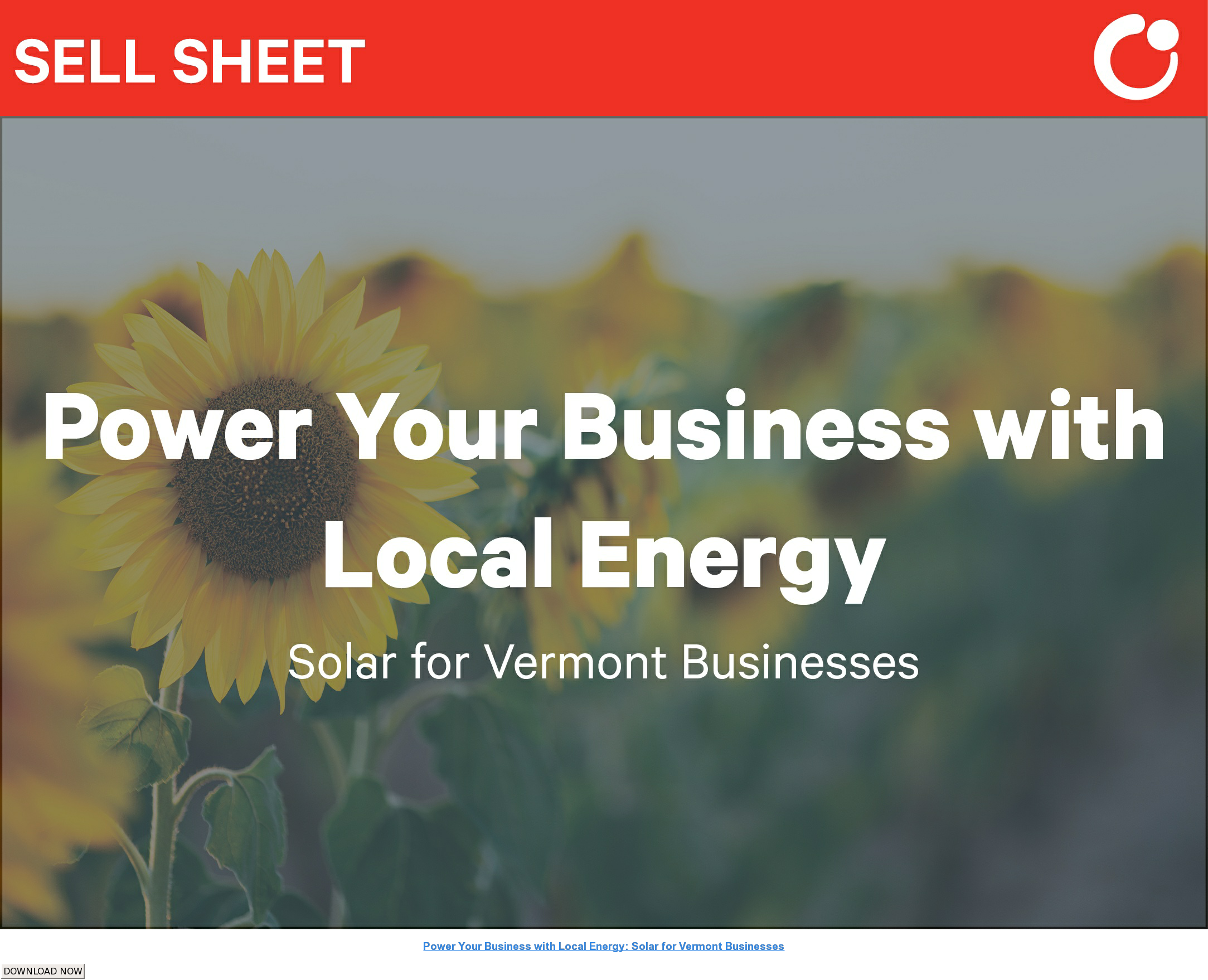 Power Your Business with Local Energy: Solar for Vermont Businesses DOWNLOAD NOW