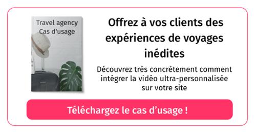Téléchargez le cas d'usage Travel Agency pour découvrir comment intégrer de la vidéo ultra-personnalisée sur votre site