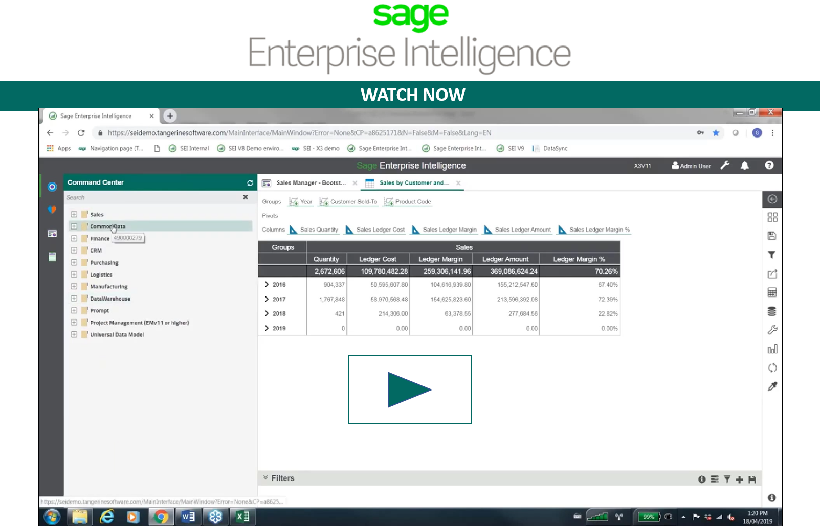 Sage Enterprise Intelligence Watch Now