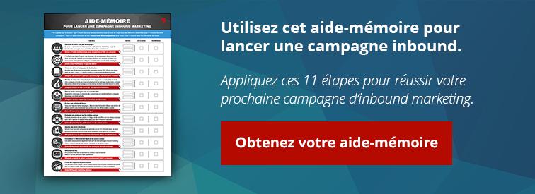 utilisez cet aide-mémoire pour lancer une campagne inbound