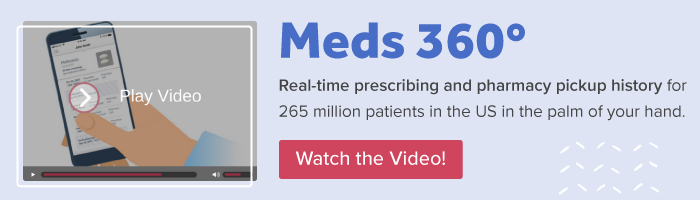 Meds 360: Real-time prescribing and pharmacy pickup history for 265 million patients in the US in the palm of your hand. Watch the video!