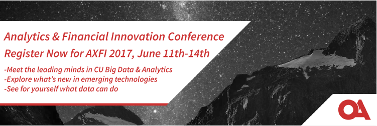 Register for the 2017 Analytics and Financial Innovation (AXFI) Conference. Meet the leading minds of Credit Union Big Data & Analytics, explore what's new in emerging technologies, and see for yourself what data can do.