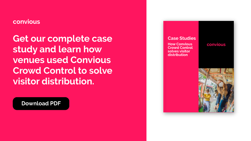 Download our case studies now for free - how Convious Crowd Control solves visitor distribution