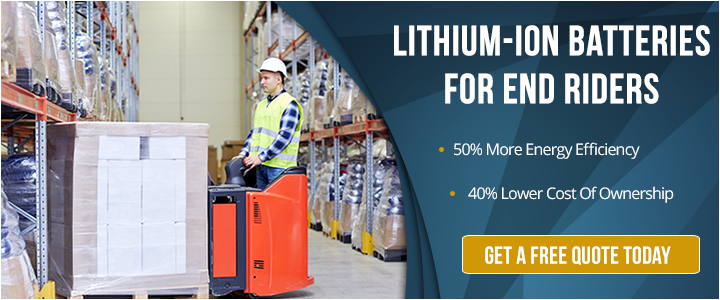 Lithium-ion battery for end rider forklift