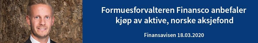 Formuesforvalteren Finansco anbefaler kjøp av aktive, norske aksjefond