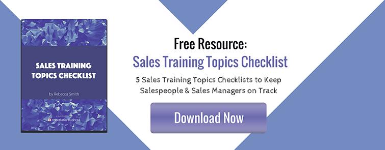 Sales Training Topics Checklist
