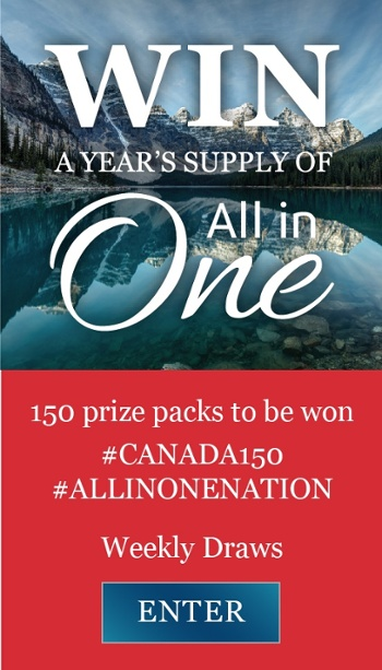 Win a year's supply of All in One. 150 prize packs to be won.