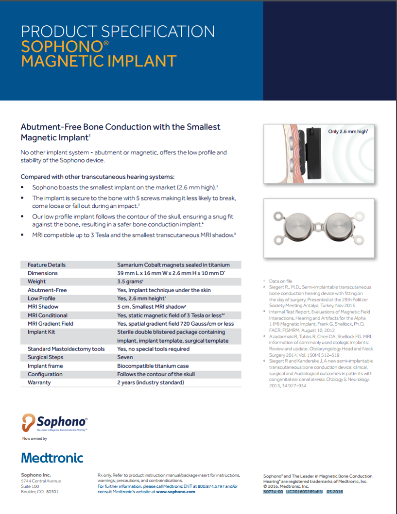 SOPHONO® - PRODUCT SPECIFICATION -  IMPLANT S0774-00 UC201603289aEN