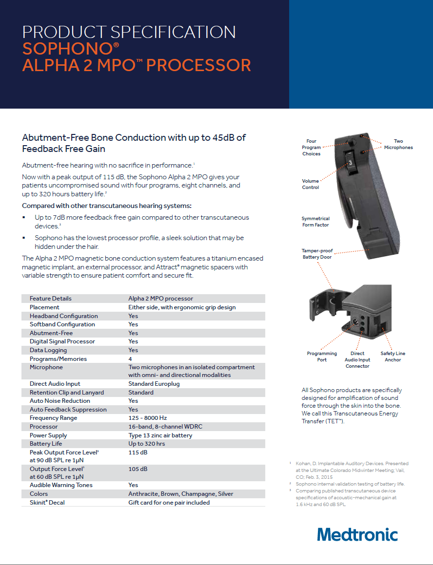 SOPHONO® - PRODUCT SPECIFICATION - ALPHA 2 MPO™ PROCESSOR S0774-00 UC201603289aEN