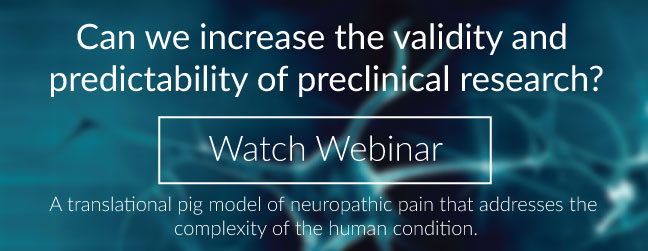 View webinar of a pig neuropathic pain model that increases the predictability to the clinic.