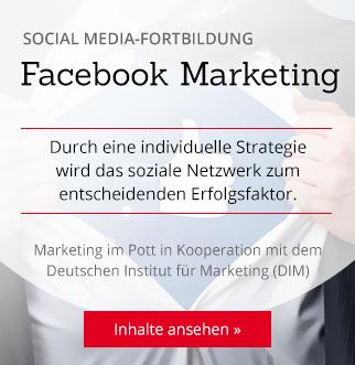 Social Media-Fortbildung Facebook Marketing. Durch eine individuelle Strategie wird das soziale Netzwerk zum entscheidenden Erfolgsfaktor. Marketing im Pott in Kooperation mit dem Deutschen Institut für Marketing (DIM). Inhalte ansehen...