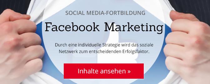 Social Media-Fortbildung Facebook Marketing. Durch eine individuelle Strategie wird das soziale Netzwerk zum entscheidenden Erfolgsfaktor. Inhalte ansehen...