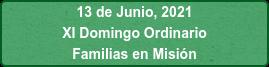 13 de Junio, 2021 XI Domingo Ordinario Familias en Misión