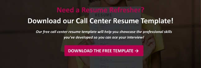 call center resume template