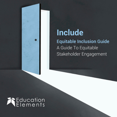 "An image of a door opening into a dark room, and light is shining through the open door. Text on the image reads, ""Include, Equitable Inclusion Guide, A Guide To Equitable Stakeholder Engagement"""