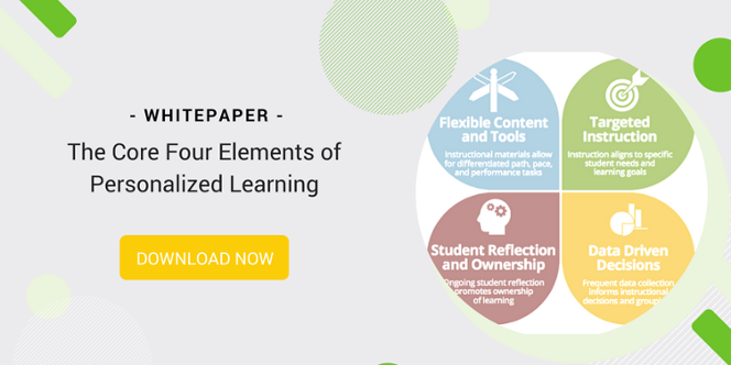 "A call to action for downloading the white paper titled ""The Core Four Elements of Personalized Learning"""