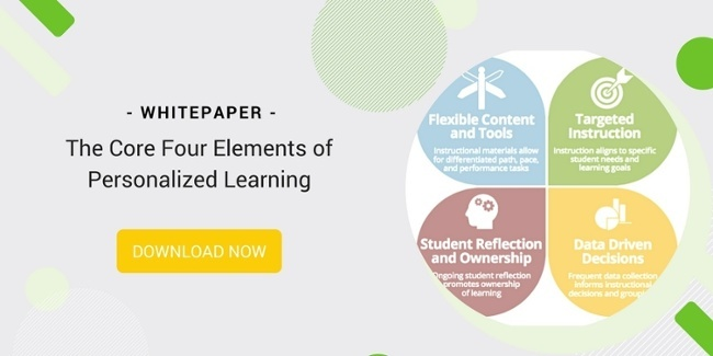 An image with a description of the Core Four Elements of Personalized Learning, which include: Flexible Content and Tools, Targeted Instruction, Student Reflection and Ownership, and Data Driven Decisions. There is also a button to download the white paper on The Core Four Elements of Personalized Learning.
