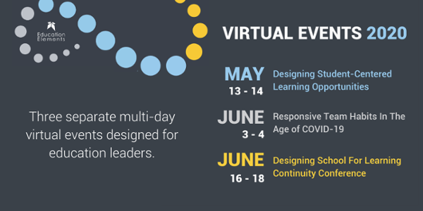 Three separate multi-day virtual events on Designing Student-Centered Learning Opportunities; Responsive Team Habits in the age of COVID-19; and Designing School for Learning Continuity