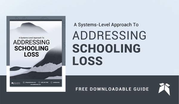 """Image of the front cover of a free downloadable guide titled """"A Systems-Level Approach To Addressing Schooling Loss"""""""