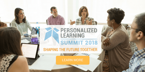 "An image of professionals seated around a table deep in discussion, with a graphic overlay which reads ""Personalized Learning Summit 2018"", and a button which reads ""Learn More"""