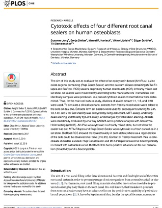 Cytotoxic effects of four different root canal sealers on human osteoblasts