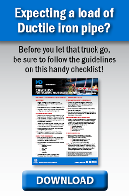 Receiving Ductile Iron Pipe Checklist