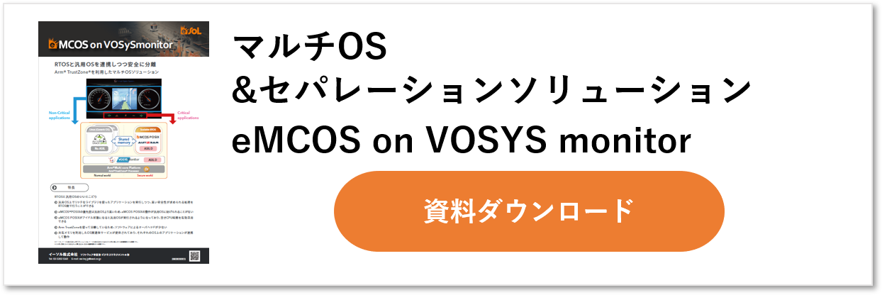 eMCOS on VOSySmonitor: Arm TrustZoneベース仮想レイヤ