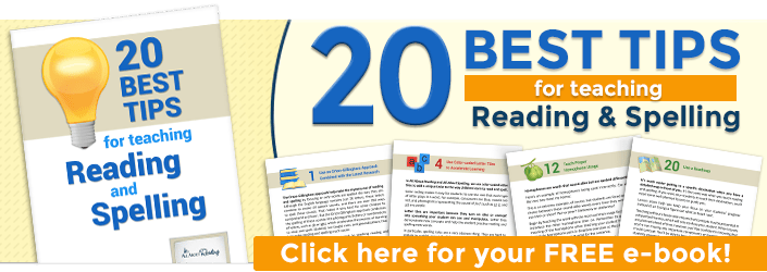 Free report - '20 Best Tips for Teaching Reading and Spelling'