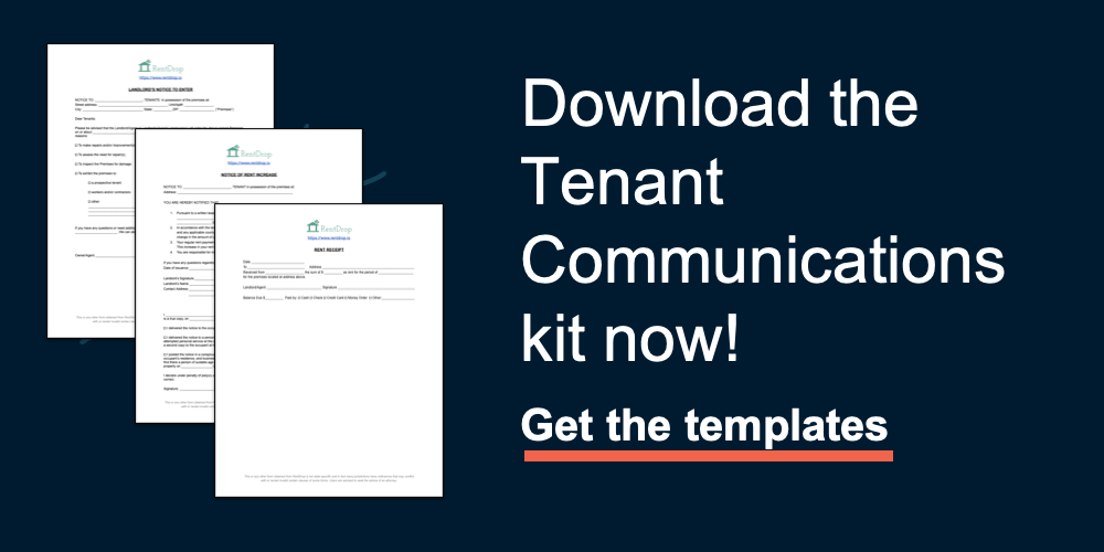 rentdrop tenant communications download templates