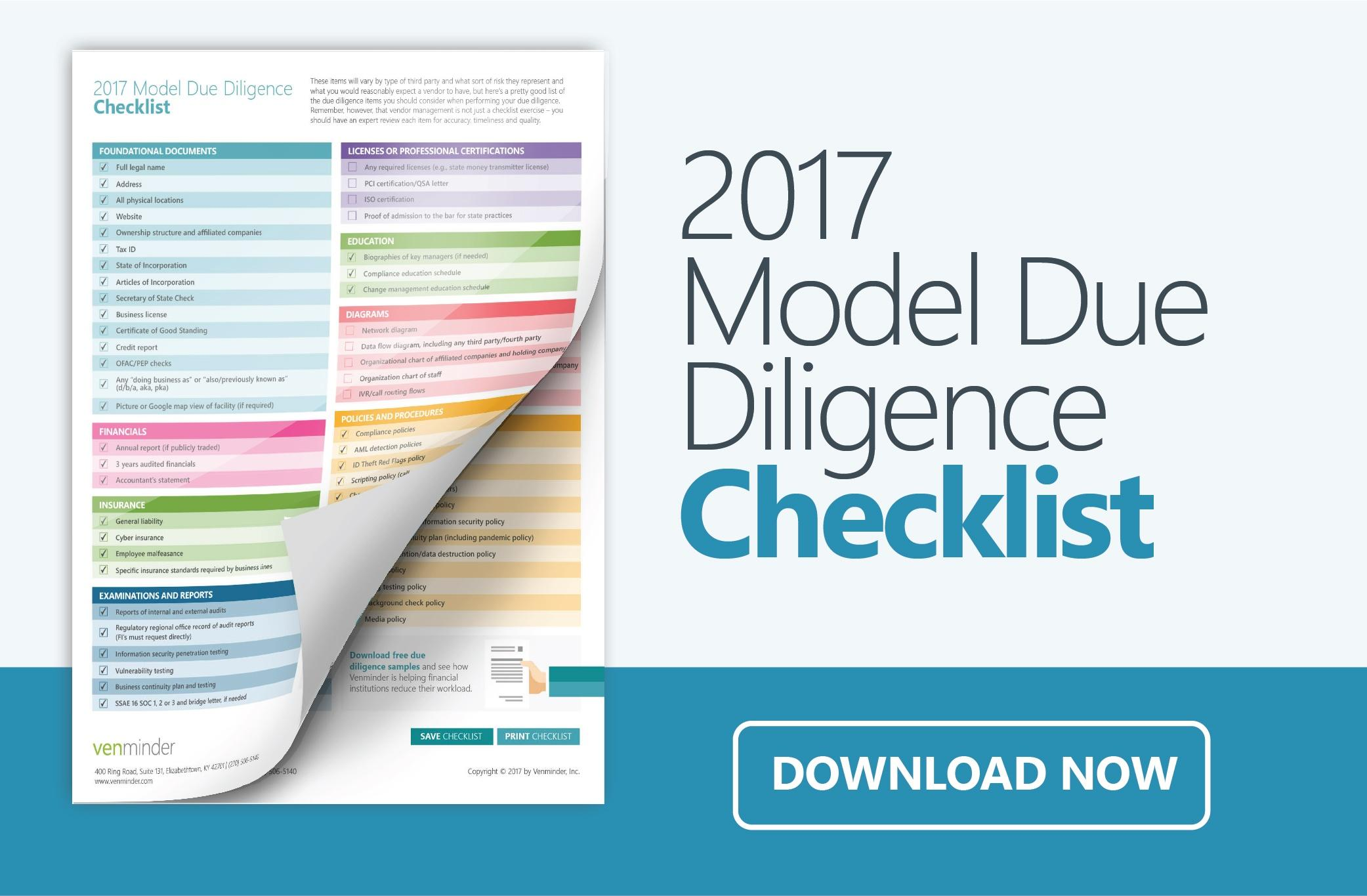 Vendor Management Model Due Diligence Checklist