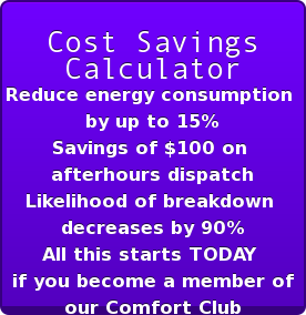 Cost Savings  Calculator Reduce energy consumption  by up to 15% Savings of $100 on  afterhours dispatch Likelihood of breakdown  decreases by 90% All this starts TODAY  if you become a member of our Comfort Club