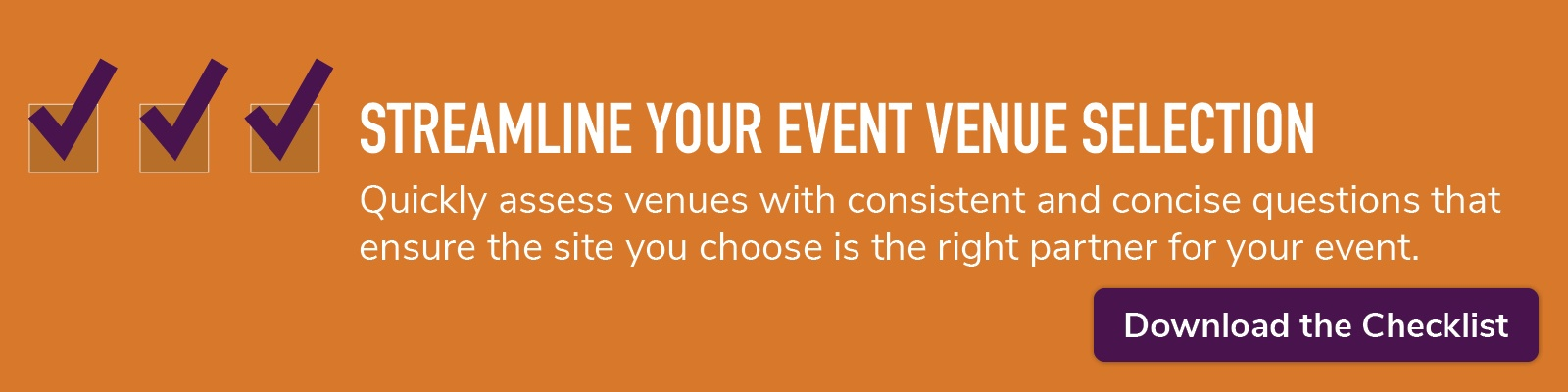 streamline your event venue selection; download the checklist