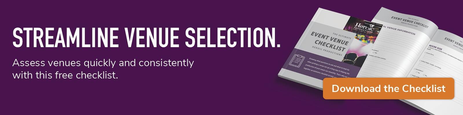 streamline venue selection; download the checklist