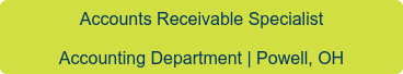 Accounts Receivable Specialist Powell, OH