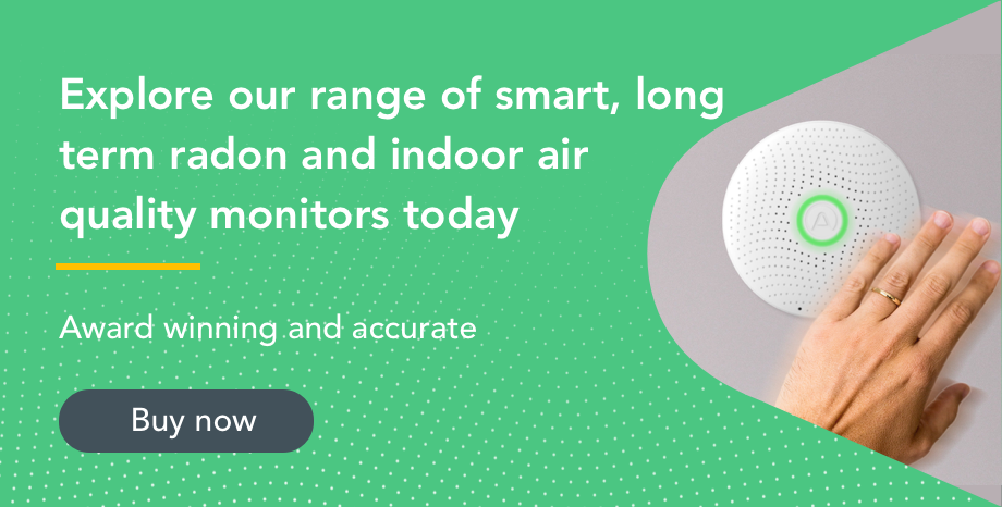 Airthings radon monitors image with text