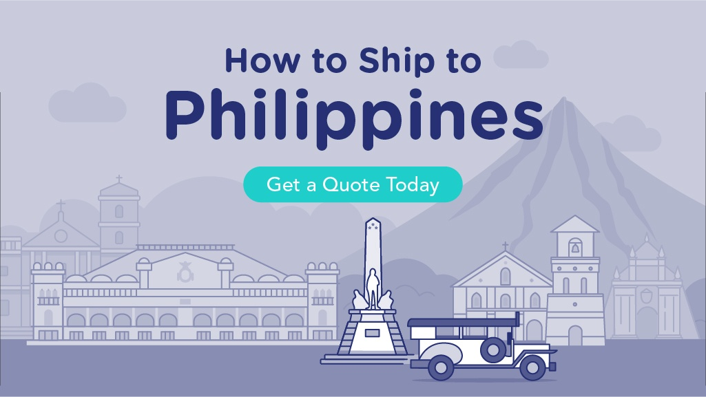 How to Ship to the Philippines with illustrations of the Philippines' famous landmarks