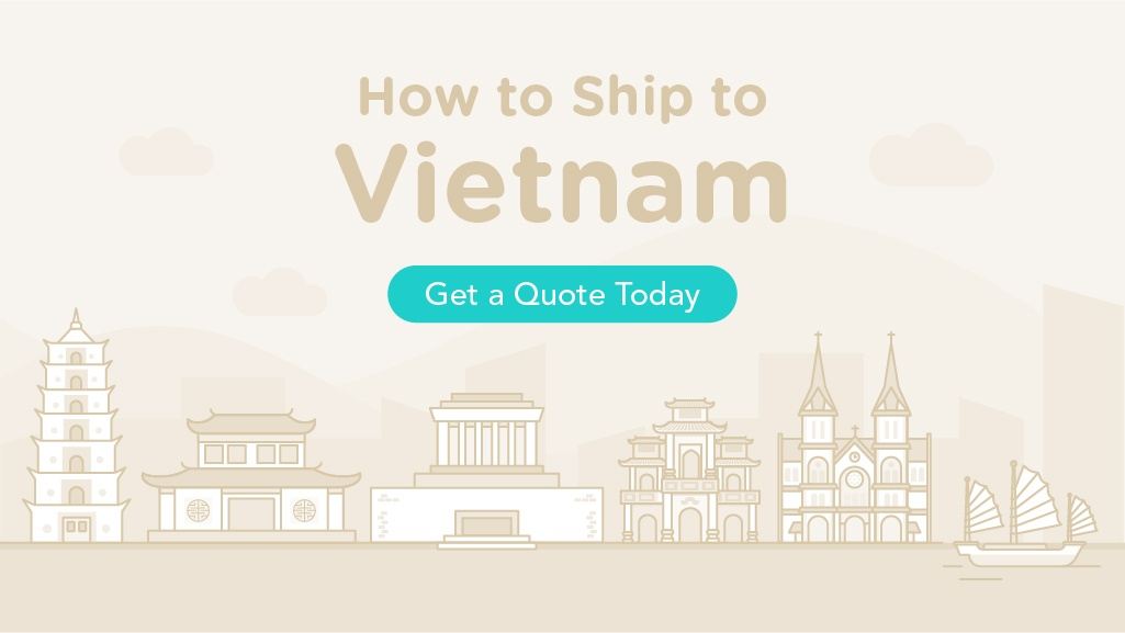 How to Ship to Vietnam with illustrations of the Vietnam's famous landmarks