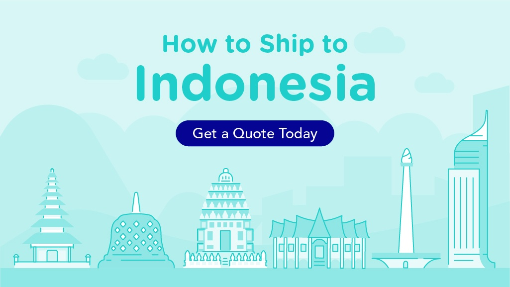 How to Ship to Indonesia, with a Indonesian landmarks illustrated in the image