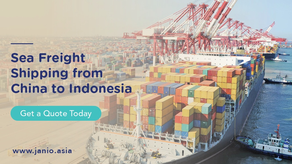 Container ship docked at a port - Sea Freight Shipping from China to Indonesia Janio
