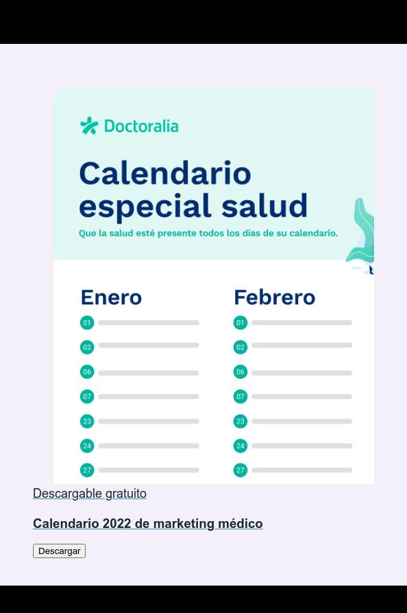 Descargable gratuito  Calendario 2020 de marketing médico Descargar