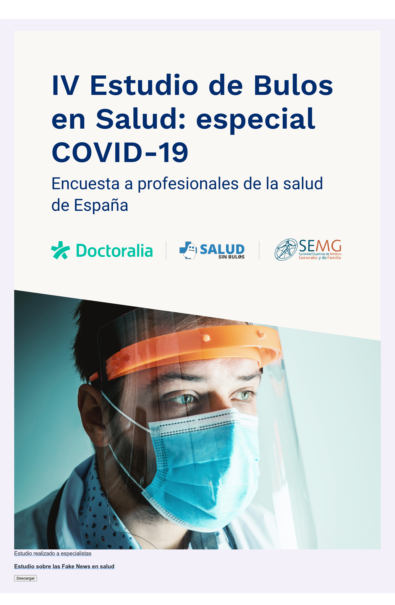 Estudio realizado a especialistas  Estudio sobre las Fake News en salud Descargar